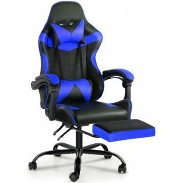 Imagen de Silla Gamer Reclinable Azul Posapie